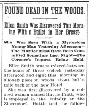 A headline in Winston paper announcing the discovery of Smith's body. Image from UNC-Chapel Hill.