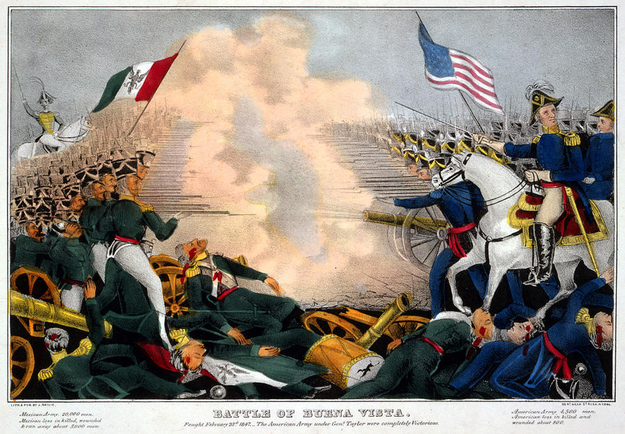 A sketch of Battle of Buena Vista, part of the Mexican-American War. Image from the Library of Congress.