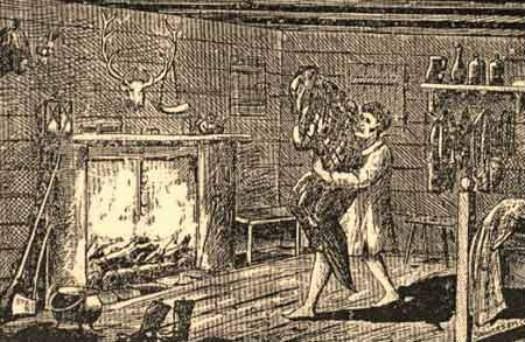 A sketch depicting an attack by the Bell Witch poltergeist. Image from Mental Floss.