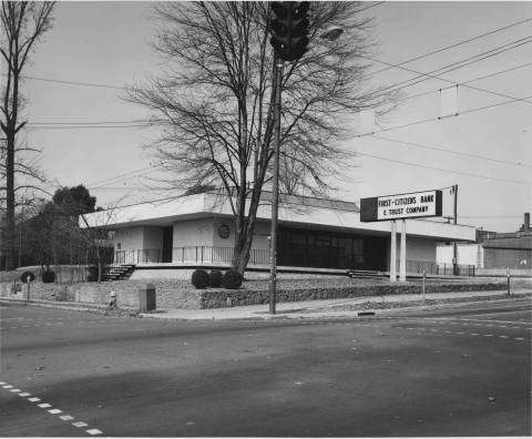 A First Citizens branch on S. Broad Street in Brevard, crica 1950s-1960s.