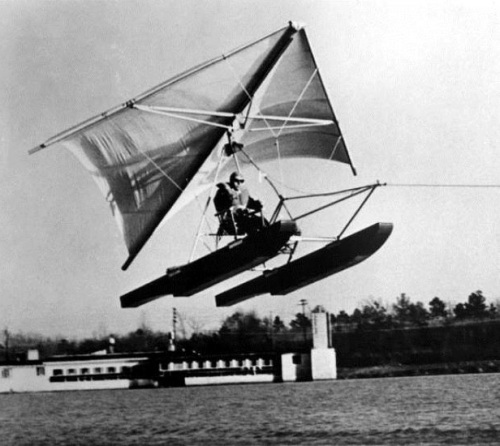 Purcell demonstrates his FlightSail technology on Lake Waccamaw. Image from the N.C. Museum of History.