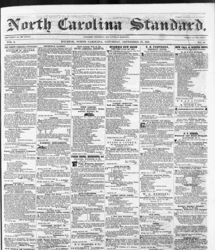 An 1851 issue of the North Carolina Standard. Image from the State Archives