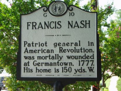 The Highway Historical Marker in Hillsborough honoring Francis Nash