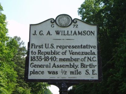 The highway marker that honors Williamson in Person County.