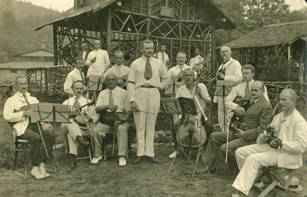 Prisoners part of the amateur band at the Hot Springs internment camp. Image from the Madison County Public Library.