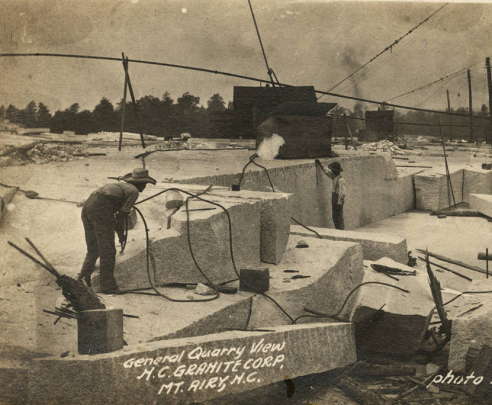 A man working at the N.C. Granite Company Quarry, circa 1910-1918. Image from the North Carolina Collection