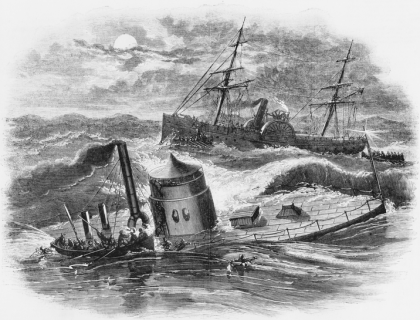 The sinking of the USS Monitor. Image from the North Carolina Collection at UNC-Chapel Hill