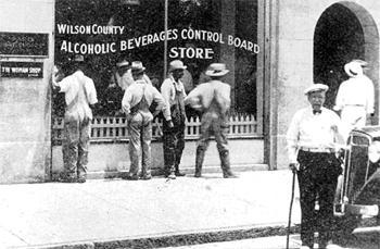 Customers wait outside for the opening of North Carolina's first ABC store in Wilson