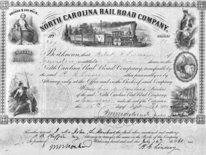 Stock certificate for the North Carolina Railroad issued in 1859 and signed by NCR president John Motley Morehead. Image from the Office of Archives and History.