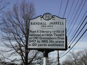 Randall Jarrell 1914 - 1965 Poet & literary critic of national acclaim. Taught at UNC-Greensboro from 1947 to 1965. His grave is 120 yards southwest.