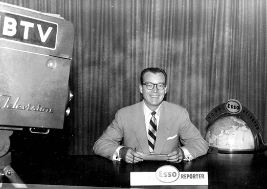 Doug Mayes at an early WBTV broadcast. Image from BT Memories.