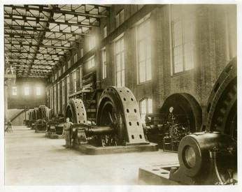 The interior of the Blewett Falls Hydroelectric Plant, circa 1920-1930. Image from the N.C. Museum of History.