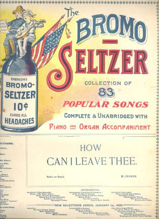 Sheet music sponsored by Emerson's Bromo-Seltzer. Image from UNC Libraries