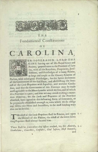 The Fundamental Constitutions of Carolina. Image from the Library of Congress.