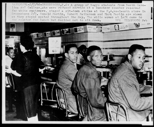 N.C. A&T students sit-in at a lunch counter in Greensboro.  Image from the Library of Congress.