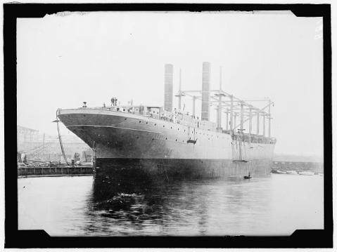 The USS Cyclops during construction, 1910. Image from  the Library of Congress.