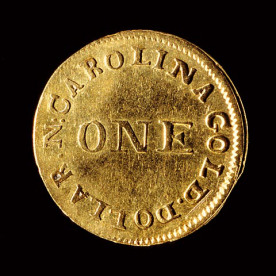A gold coin minted by the Bechtlers and now in the N.C. Museum of History's collection.
