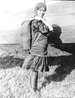 Tiny Broadwick with parachute on back, c.1913-1922. Image from the State Archives.
