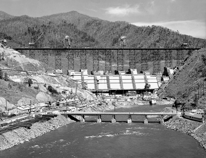 The Fontana Dam under construction. Photo courtesy of the Tennessee Valley Authority.