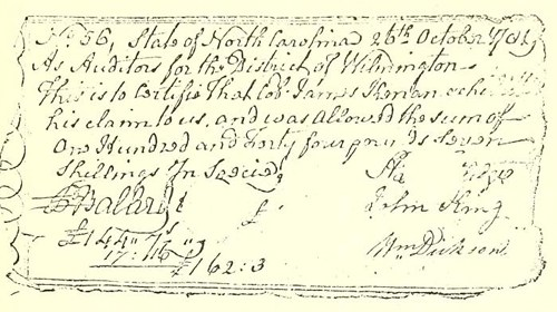A Revolutionary War voucher issued to James Kenan. Image from UNC-Chapel Hill Libraries.