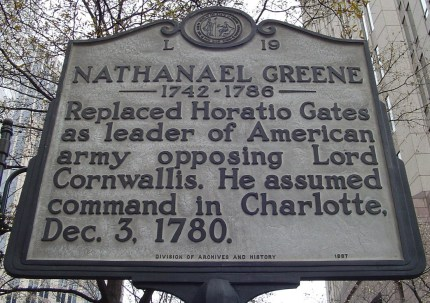 Highway marker in Mecklenberg County that honors Nathanael Greene.