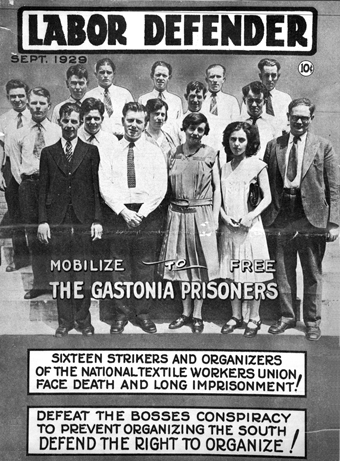 "Gastonia Mill workers imprisoned for striking, published on cover of the September 1929 ""Labor Defender."" Image from the State Archives"