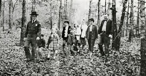 A ranger and hikers at what was then Duke Power State Park, circa 1965. Image from North Carolina State Parks.