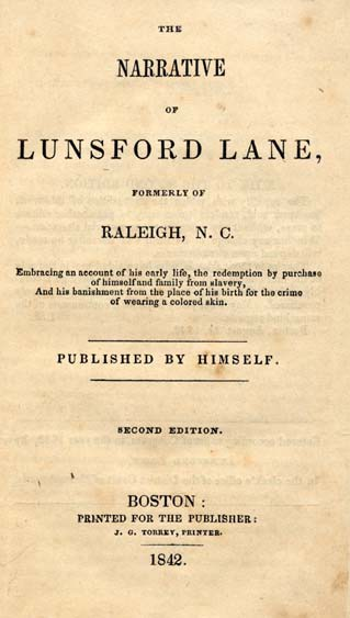 The title page of Lane's book. Image from UNC-Chapel Hill Libraries.