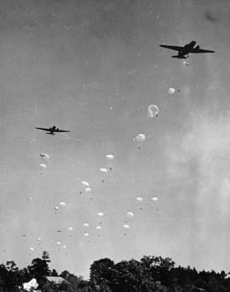 Paratroopers practice at Laruinburg-Maxton Army Air Base during World War II. Image from the N.C. Museum of History.