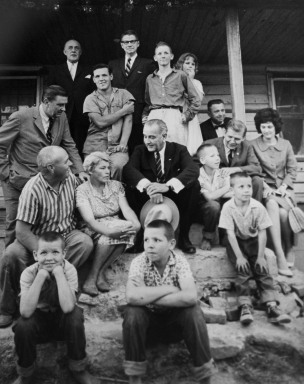 Pres. Lyndon Johnson and Gov. Terry Sanford pose with the Marlow family in Rocky Mount. Image from the State Archives