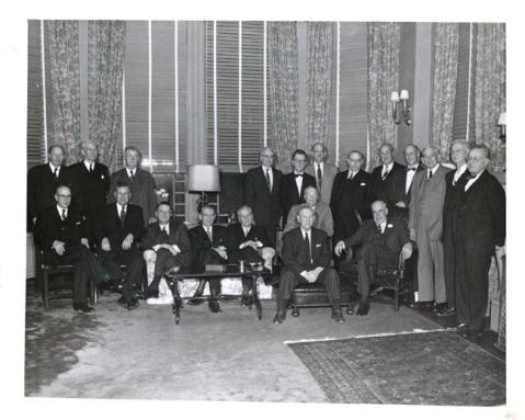 Members of the Watauga Club gather in the Executive Mansion in 1955. Image from the North Carolina Museum of History.