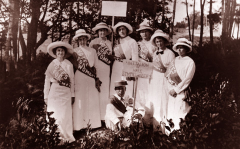 Gertrude Weil, far left, with a group of suffragettes, circa 1920. Image from the State Archives.