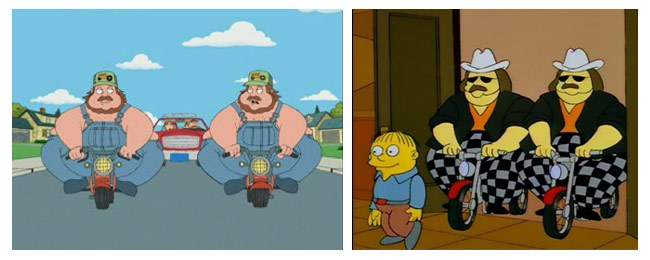 The McCrary Twins as immortalized on Family Guy (left) and The Simpsons (right). Image from Good Spark Garage.