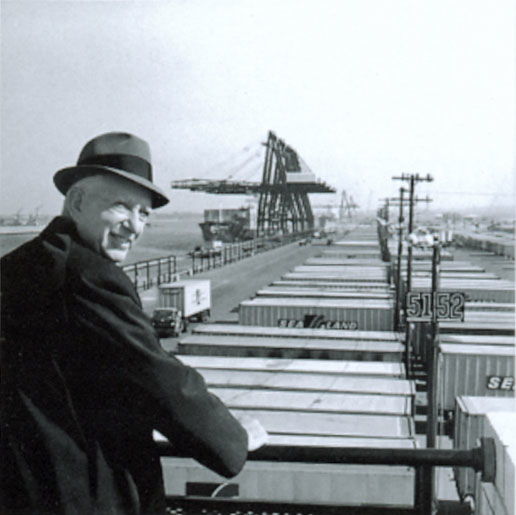 McLean looks over containers at the Port of Newark. Image from Maersk.