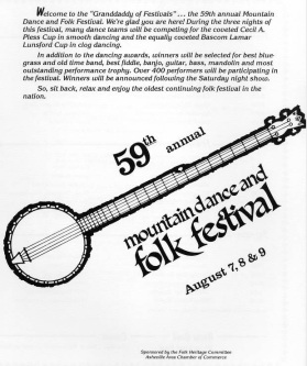 A program from the 59th annual  Mountain Dance and Folk Festival in 1986. Image from UNC Asheville