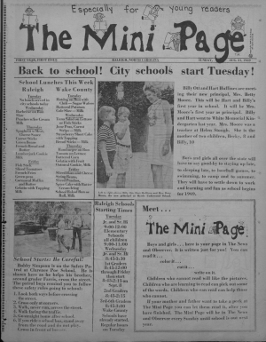 The first issue of the Mini Page. Image from UNC-Chapel Hill.