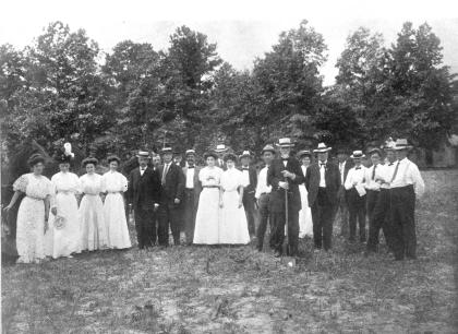 Gov. Thomas Jarvis (right center with shovel) at the ground-breaking ceremony for East Carolina Teachers College. Image from the State Archives