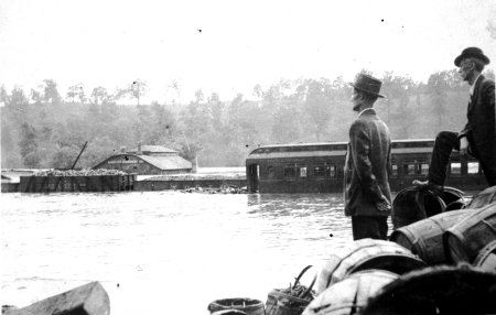 Asheville's railroad yard after the 1916 flood. Image from the State Archives