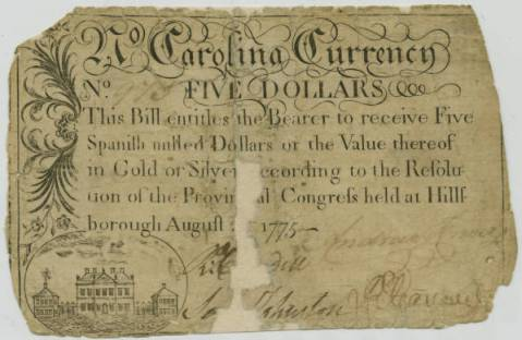 A note of currency issued under the authority of the Third Provincial Congress. Image from Carolana.