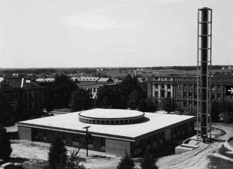 The nuclear reactor building at N.C. State University, circa 1955. Image from NCSU Libraries.