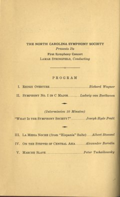Page two of the concert's program. Image from the North Carolina Collection at UNC-Chapel Hill