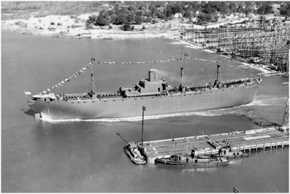 The SS Zebulon Baird Vance being launched. The Iredell would have been launched in a similar way. Photo from NCpedia