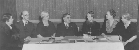 The first board meeting of the N.C. Society for the Preservation of Antiquities. Image from the Office of Archives and History.