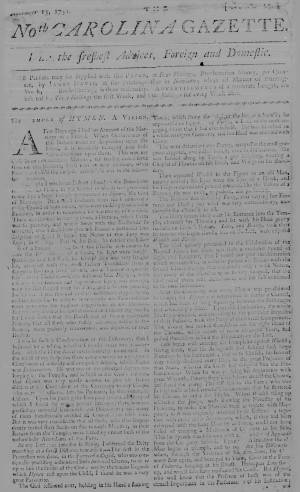 An August 1751 edition of the North-Carolina Gazette held by the State Archives.