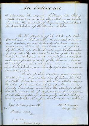 A letter book copy of North Carolina's Ordinance of Secession. See the full document online from the State Archives.