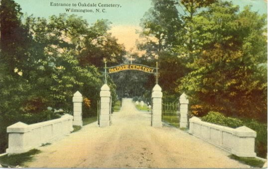 A postcard showing the cemetery's entrance. Image from the New Hanover County Public Library.