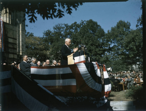 Truman speaking at the statue dedication. Image from UNC-Chapel Hill Libraries.