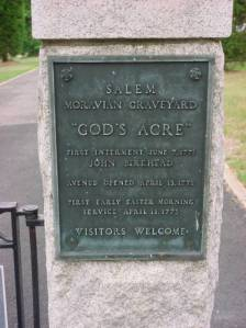 Plaque at the entrance to God's Acre. Image from State Archives