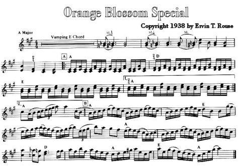 """An except from the sheet music for """"Orange Blossom Special"""""""