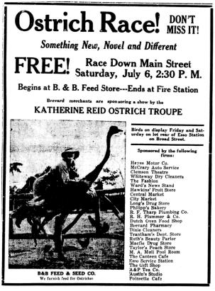 An ad for the 1935 ostrich race in Brevard. Image from the Transylvania County Public Library.